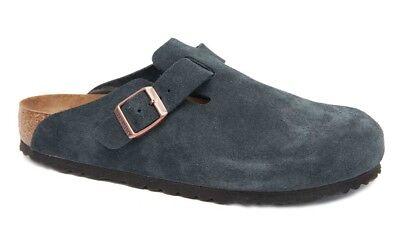 Birkenstock Clogs BOSTON Suede Leather navy blue regular Soft Footbed NEW   eBay