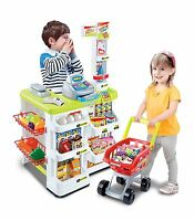 Kids Supermarket Toy Children Shop Role Play Pretend Shopping Basket Food Till