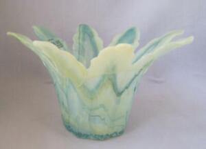 Genuine-Murano-Glass-Green-Yellow-Art-Glass-Bowl-Tammaro-Made-in-Italy-No-224