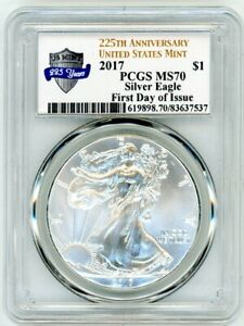 2017 $1 1 OZ Silver Eagle PCGS MS70 First Day Of Issue 225th Anniversary Label