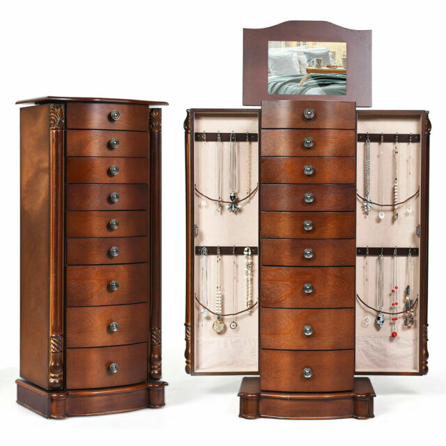 Wood Oak Jewelry Armoire Standing