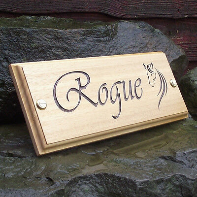 Edwardian Font /& Horse Head Logo Horse Stable Name Plate Wooden Door Sign