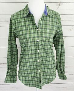 The-Limited-Top-Womens-Large-L-Green-Plaid-Button-Long-Sleeve-Collared-Cotton