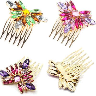 Women's Luxury Crystal Rhinestone Flower Hair Clip  Hair Comb Hairpin Gift M98
