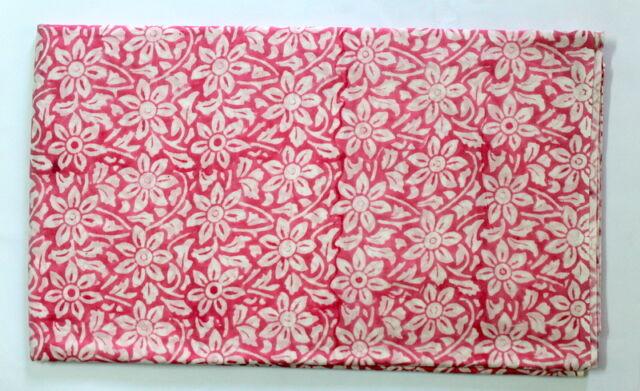 Natural vegetable Dye Hand block Print Running Loose 100% Cotton Fabrics Printed
