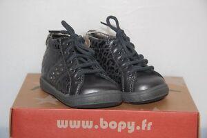 b167e2f4d9bc4 BOPY - Zerock - Chassures bébé Fille - Cuir Gris léopard - T 19 neuf ...