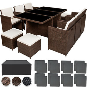 poly rattan gartenm bel garnitur sitzgarnitur aluminium 6 st hle tisch 4 hocker ebay. Black Bedroom Furniture Sets. Home Design Ideas