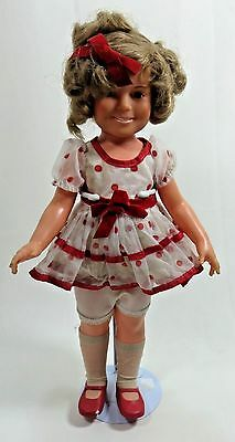 "Ideal SHIRLEY TEMPLE Doll 16 - 3/4""  with stand White Dress  1972 Vintage"