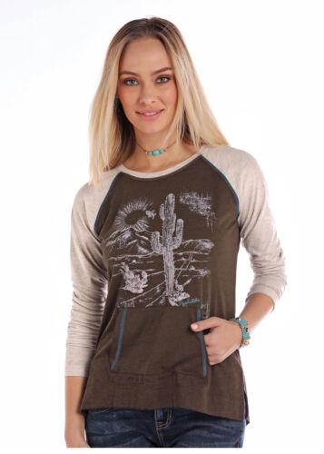 Panhandle Slim Women/'s Brown /& Grey Desert Long Sleeve Tee L8T2874 L8X2874