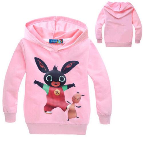 Bing Bunny Hoodies Kids Girls Boys Hooded Pullover Tops Cartoon Rabbit T-shirts
