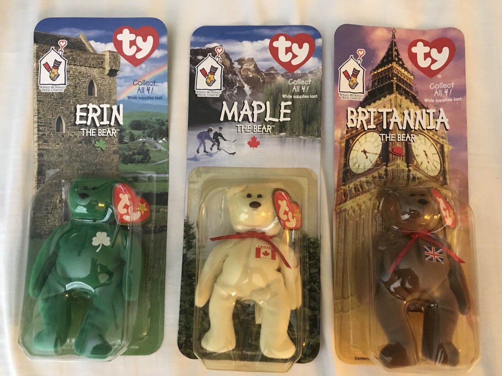 """Rare - Beanie Baby McDonalds 4 Piece collection with Tag Errors"""