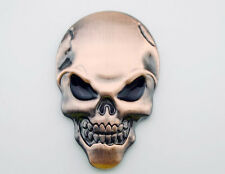 Skull Emblems Badge Decal Sticker 3D Metal Harley Honda Tank Fairing Body Copper