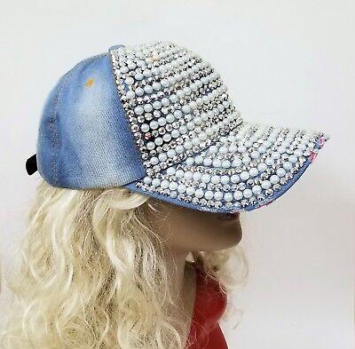BLUE DENIM SHINY CRYSTAL CUT GLITZ STUDS /& PEARL COTTON LADY/'S BASEBALL HAT,CAP