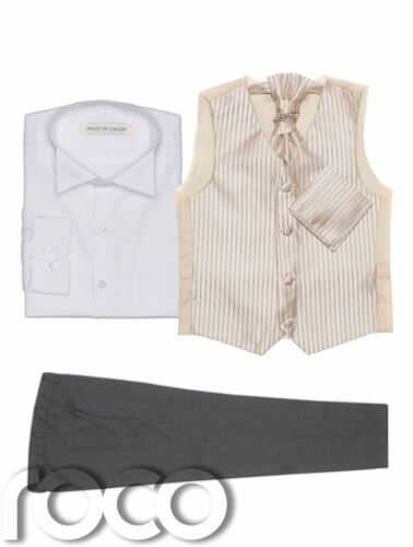 Page Boy Suits Baby Boys Waistcoat Suit Grey Trousers Striped Pattern