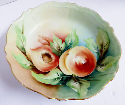 "O&EG Royal Austria signed Decorative porcelain hand painted Peach 7.75"" bowl"