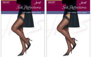 69aa61c88 2 Pack Hanes Silk Reflections Silky Sheer Thigh High Pantyhose - 7 ...