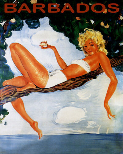 POSTER TRAVEL BARBADOS CARIBBEAN BEACH GIRL LYING ON TREE VINTAGE REPRO FREE S/H