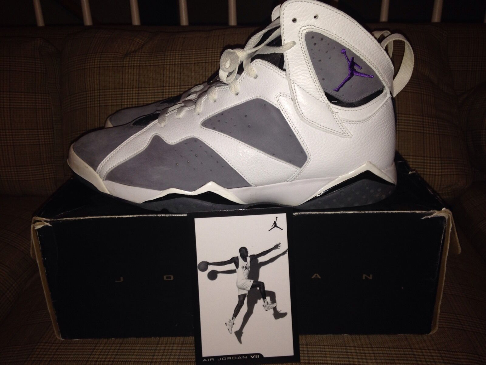 Nike Air Jordan 7 Retro Varsity Purple Flint Grey Basketball Shoes Comfortable Brand discount