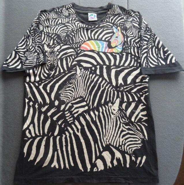 ef97373a Liquid Blue XL Zebra 1993 Retro Tee T-Shirt Black White Striped True  Vintage USA