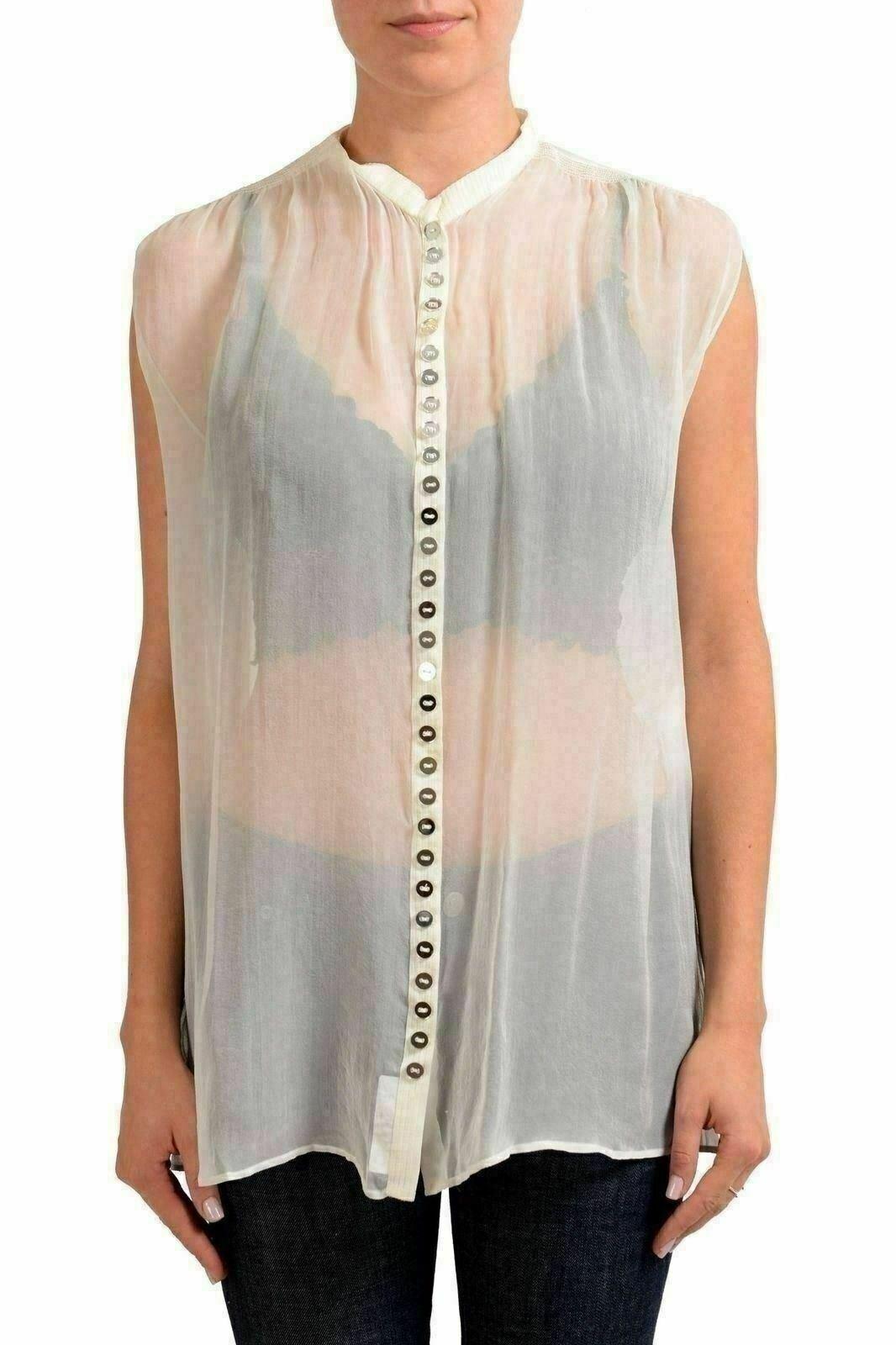 Viktor & Rolf 100% Silk White See Through Sleeveless Women'S Blouse US S IT 40