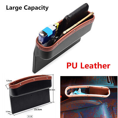 Black Car Seat Gap Filler Organizer Side Slit Storage Box Console Pocket Auto Seat Side Drop Caddy Catcher with 2 USB Ports