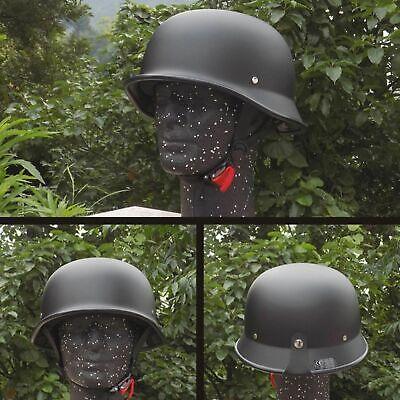 Retro Motorcycle Helmet Matte Black German Half Face for Chopper Biker WWII