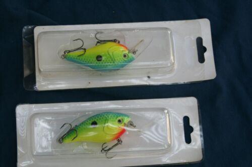 """Custom Chartreuse BASS FISHING Leurre CRANKBAIT 2.5/"""" deux leurres livraison gratuite"""
