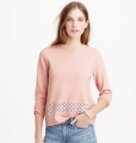 NWT  J CREW Lace Hem Sweater Medium Light bluesh  C5223 Cotton Sweater-Top