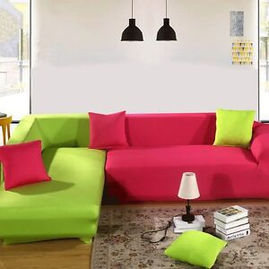 Image Is Loading L Shape Stretch Fabric Sofa Cover Protect Elastic