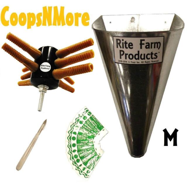 *COMBO* L10 RITE FARM DRILL CHICKEN PLUCKER MEDIUM KILL CONE 10 BLADES & SCALPEL