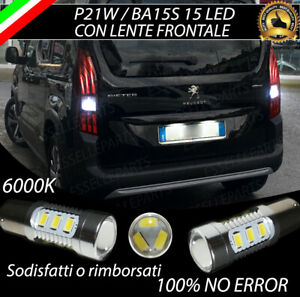 2X-LAMPADE-RETROMARCIA-15-LED-P21W-BA15S-CANBUS-PEUGEOT-RIFTER-NO-ERRORE