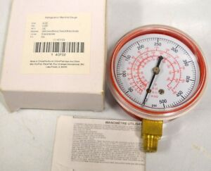 "Refrigeration Manifold gauge - 2 1/2"", 0-500 PSI, 7/8"" NPT, Red Poly Back-4CFD2"