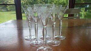 Cordial Liqueur Glasses Etched Optic Panel Floral Design 6 4 ounce elegant stems