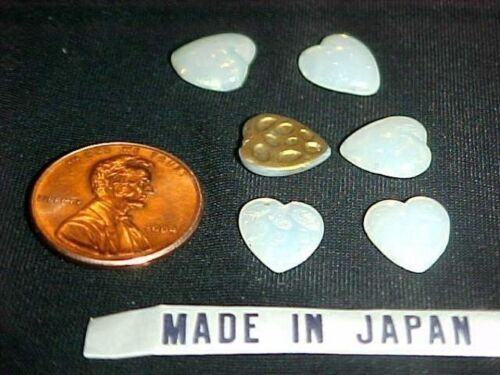 12 VINTAGE JAPANESE GLASS WHITE OPAL HEART 10mm SMOOTH PLAQUE CABOCHONS  L330