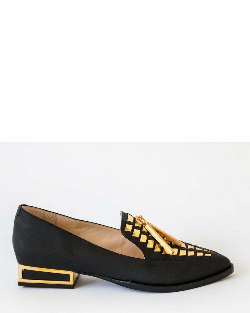 Kat Maconie Esme cuir noir détail doré Pointu Chaussures UK 4 EU 37 Entièrement neuf dans sa boîte