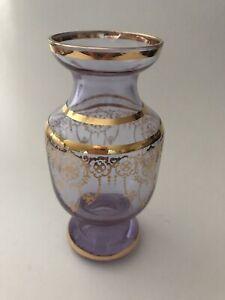 neodymium alexandrite glass Vase Gold Overlay