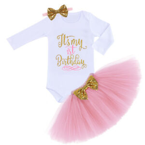 74540929d8 Baby Girls 1st Birthday Party Photo Shoot Long Sleeve Romper Tutu ...