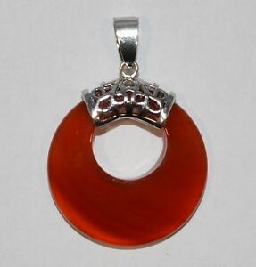 Anhanger Pendant Stein Rot Achat Donut Form Donuthalter Silber