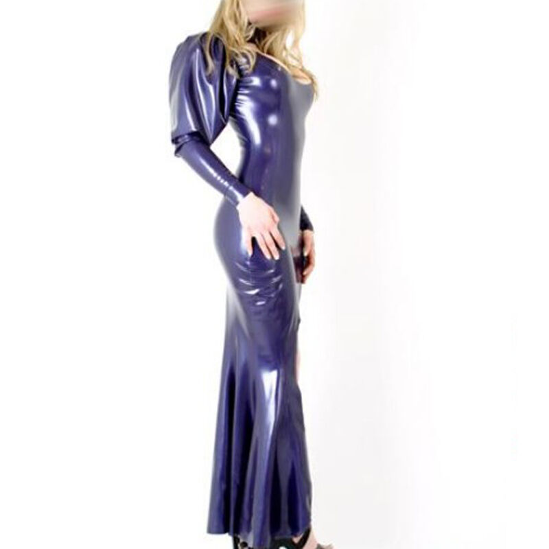 Sexy Latex Dresses Full Sleeve Fashion Rubber Women's Gowns Party Evening Wear