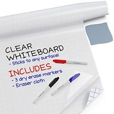 Kassa Clear Dry Erase Board Sticker 173 X 78 65 Feet 3 Dry Erase Markers