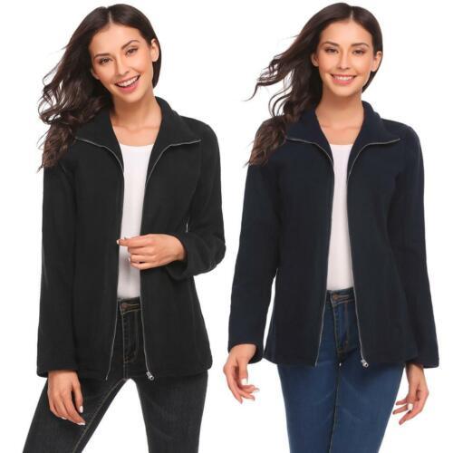 Women Casual Stand Collar Long Sleeve Solid Full Zip Fleece Jacket W2YN 02