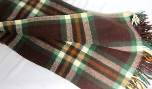 "Large Vintage Brown Green Russet Plaid WOOL Throw Lap Robe 60"" x 68"""