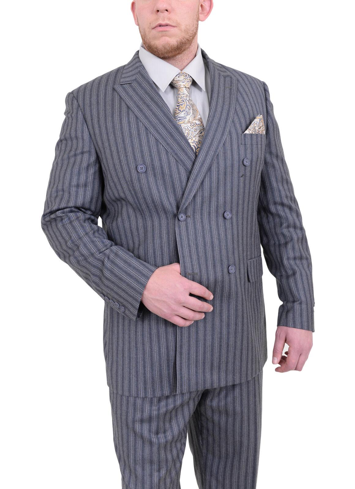Herren 56L Steven Land Klassische Passform Grau Gestreift Zweireihig Plissiert