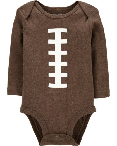 NWT Carter/'s Boys 3 6 Month Football Original Bodysuit Long Sleeve Cotton Brown
