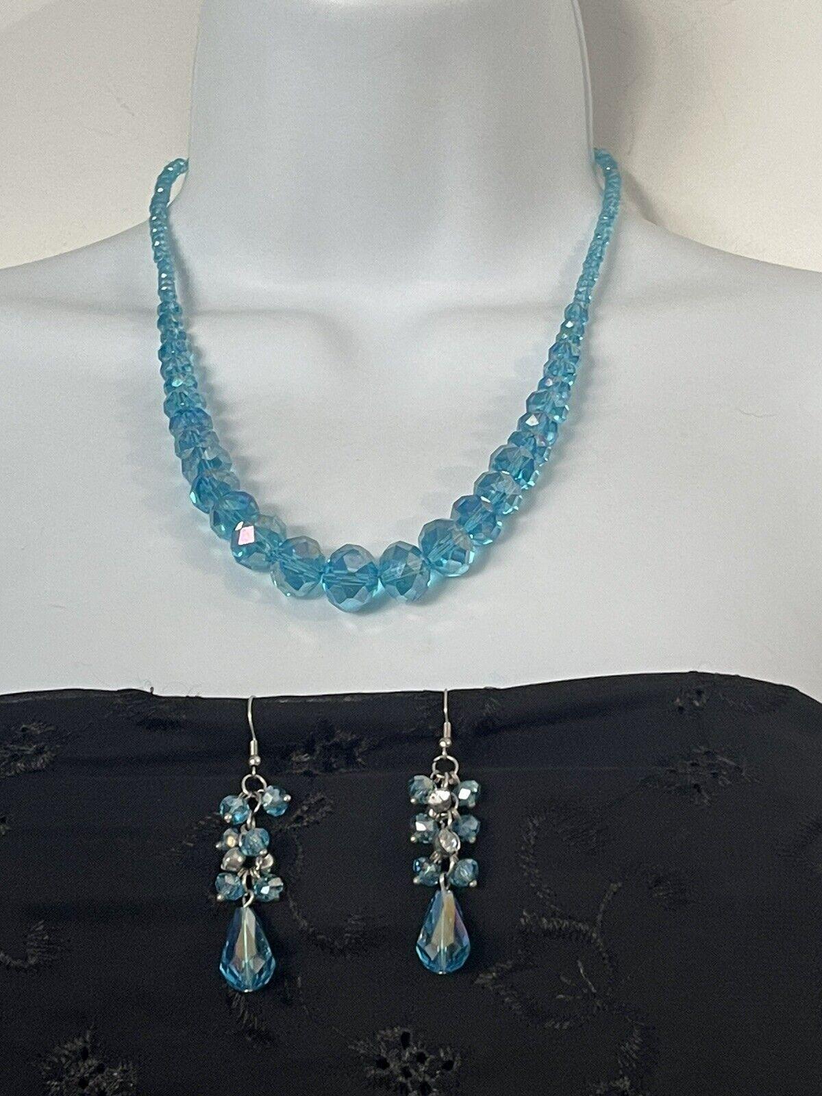 Silver Tone Teal Blue Crystal Diamante Teardrop Pendant Necklace Earrings Set
