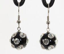 "Lucite clear rhinestone studded disco ball dangle drop earrings black 1.5"" long"