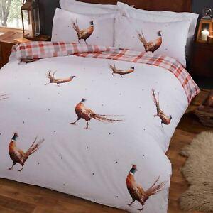 Pheasant-Tartan-Set-Housse-de-Couette-Double-Parure-de-Lit-Reversible