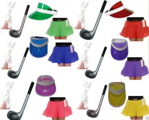 LADIES GOLFER VISOR CAP HAT INFLATABLE CLUB GLOVES TUTU SKIRT HEN FANCY DRESS