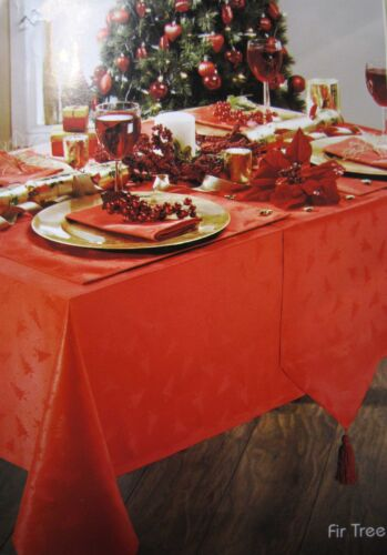 FIR TREE RED TABLE CLOTHS DOTS CRIMSON DINNER PARTY FESTIVE CHRISTMAS OCCASIONS