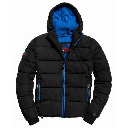 Superdry Mens Puffer Sports Jacket Black Blue Quilted Windcheater Ship Worldwide